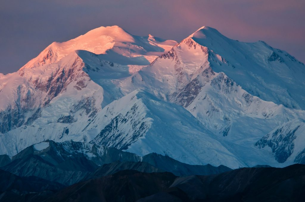Mount McKinley covered with snow is impressive