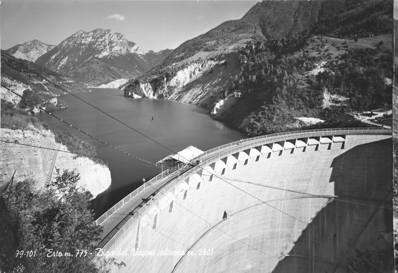An old photo of the Vajont Dam before the disaster, in the 1960