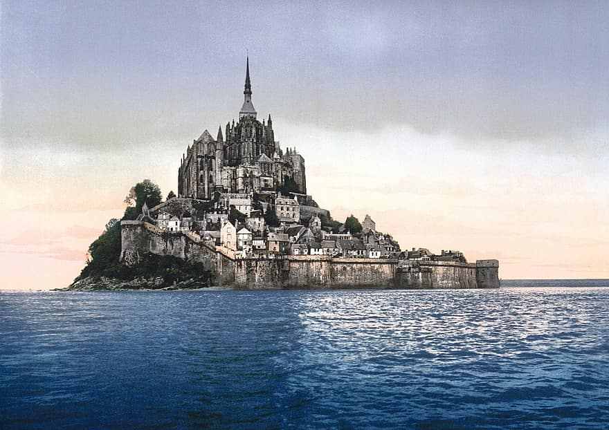 Mont St Michael, France, surrounded by the sea